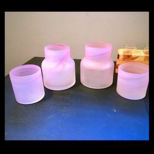 Set Of 2 Glass Candle Holders Vases